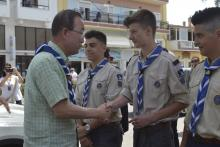 Ban Ki Moon with the Scouts of Lesbos